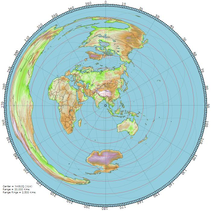 Great Circle Map centered on VU4PB, Andaman Islands